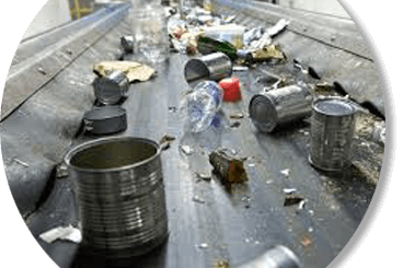 recycleable rubbish on conveyor belt